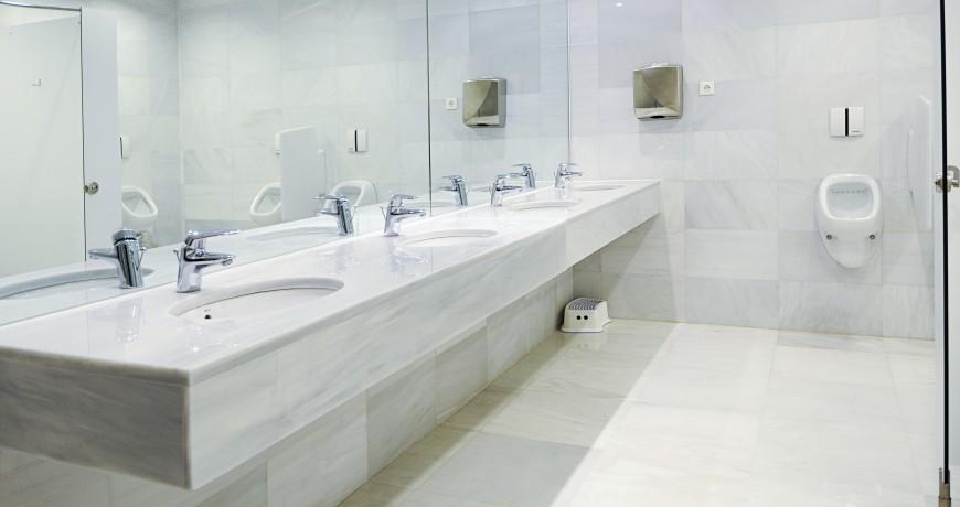 Public washroom mirror