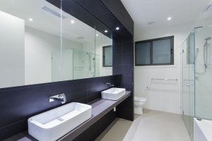 Double Sink Purple Bathroom Mirror